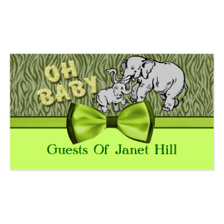 Oh Baby Elephants Zebra Print Baby Shower Pack Of Standard Business Cards