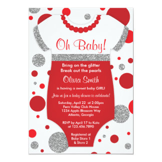 Oh Baby Girl, Baby Shower Invitation, Faux Glitter Card