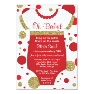Oh Baby Girl, Baby Shower Invitation, Faux Gold Card