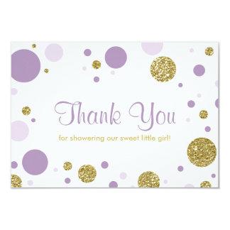 Oh Baby Girl, Thank You Card, Faux Glitter 9 Cm X 13 Cm Invitation Card