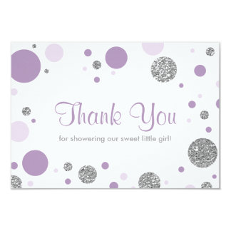 Oh Baby Girl, Thank You Card, Faux Glitter Card