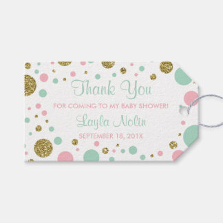 Oh Baby Girl Thank You Tag, Favor, Faux Glitter Gift Tags