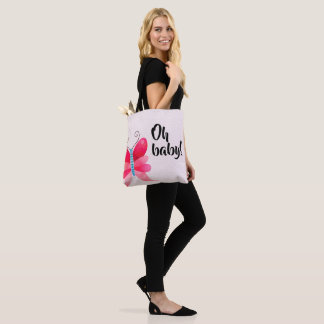 Oh baby, girly baby shower gift idea tote bag