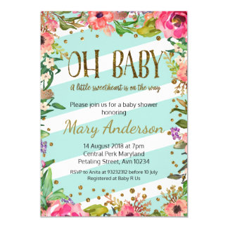 Oh Baby, gold and mint baby shower invitation
