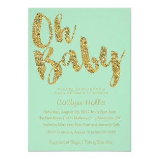Oh Baby Gold Glitter and foil on mint Baby Shower Card