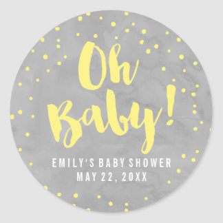 Oh Baby Grey and Yellow Watercolor Baby Shower Round Sticker