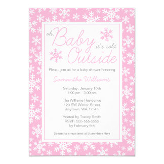 Oh Baby It's Cold Outside Pink Baby Shower 13 Cm X 18 Cm Invitation Card
