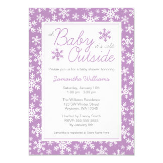 Oh Baby It's Cold Outside Purple Baby Shower 13 Cm X 18 Cm Invitation Card