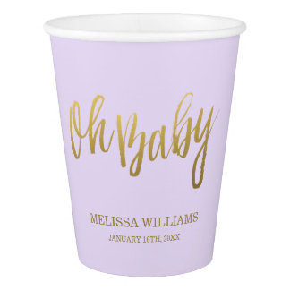 Oh Baby Lilac Purple Gold Glitter Baby Shower Paper Cup