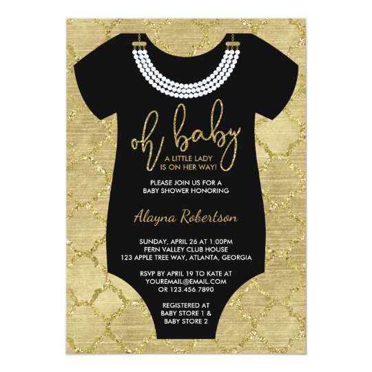Oh Baby, Little Lady Baby Shower Invite, Faux