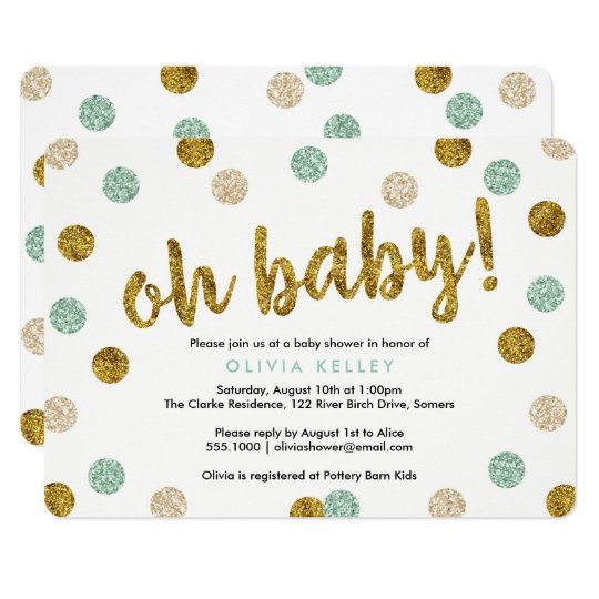 Oh Baby Mint and Gold Baby Shower Invitation
