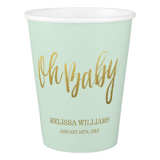 Oh Baby Mint Faux Gold Baby Shower