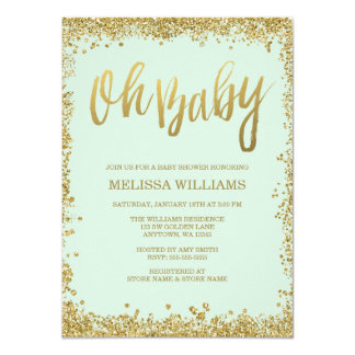 Oh Baby Mint Gold Glitter Baby Shower Card