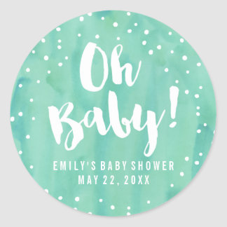 Oh Baby Mint Watercolor Baby Shower Classic Round Sticker
