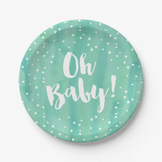 Oh Baby Mint Watercolor Baby Shower Paper Plate