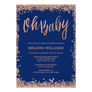 Oh Baby Navy Faux Rose Gold Glitter Baby Shower Card