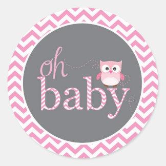 Oh Baby Pink Chevron Owl Shower Sticker