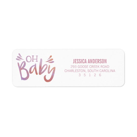 """Oh Baby"" Pink Watercolor Baby Shower"