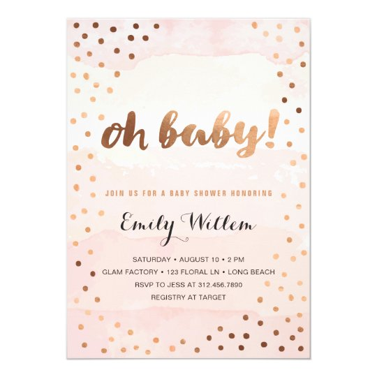 OH BABY! Pink Watercolor & Gold Foil Baby