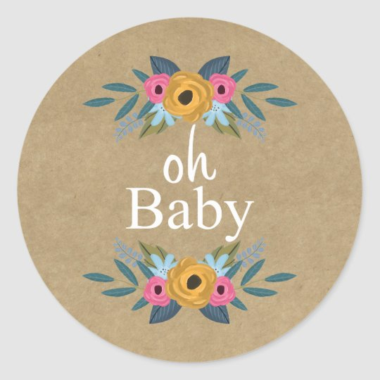Oh Baby! Rustic Kraft Floral Wreath Baby Shower