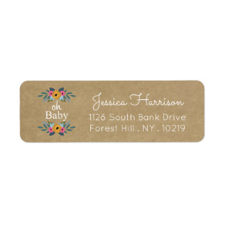 Oh Baby! Rustic Kraft Floral Wreath Baby Shower Return Address Label
