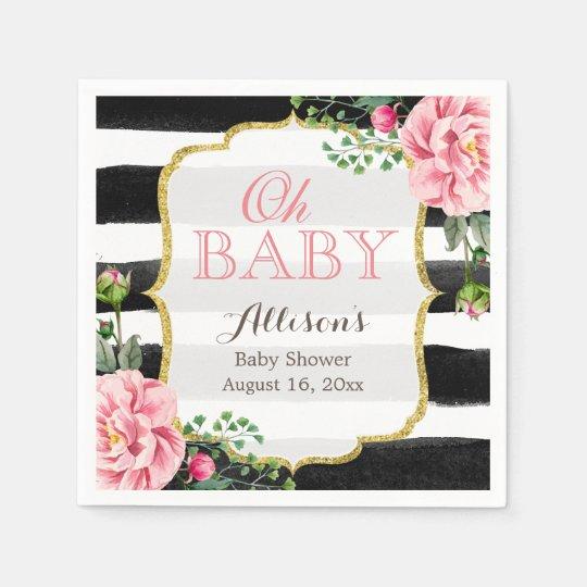 Oh Baby Shower Blush Pink Floral Gold Stripes