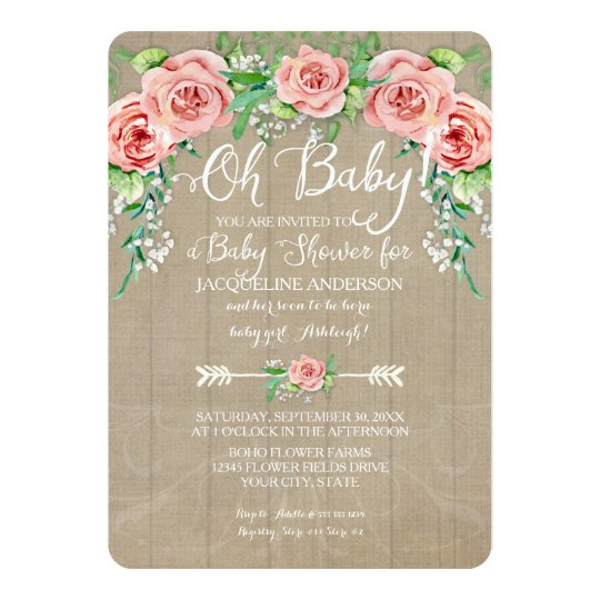 Oh Baby Shower Girl Flower Crown Barn Wood