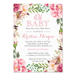 Oh Baby Shower Girly Elegant Chic Pink Flowers 13 Cm X 18 Cm Invitation Card