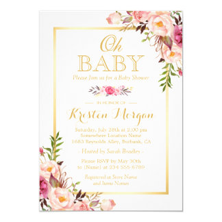 Oh Baby Shower Graceful Chic Floral Gold Frame Card