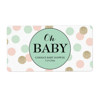 Oh Baby Shower Mini Champagne Label Gender Neutral Shipping Label
