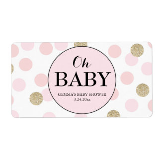 Oh Baby Shower Mini Champagne Label Girl Shipping Label