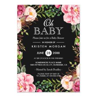 Oh Baby Shower Modern Beautiful Floral Wreath Wrap 13 Cm X 18 Cm Invitation Card