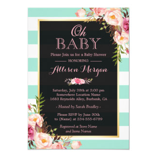 Oh Baby Shower Pink Floral Mint Green Stripes 13 Cm X 18 Cm Invitation Card