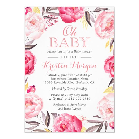 Oh Baby Shower Romantic Botanical Floral Wreath Card