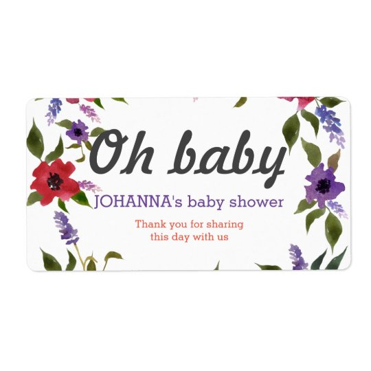 Oh Baby Watercolor Flowers Water Bottle Favour Shipping Label