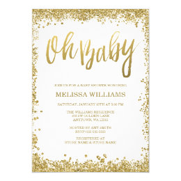 Baby shower invitations announcements zazzle uk oh baby white gold glitter baby shower card filmwisefo Image collections