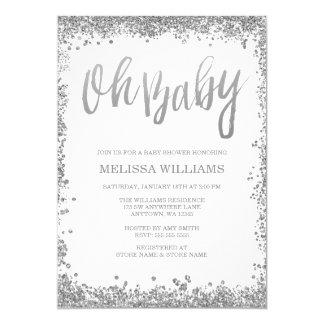 Oh Baby White Silver Glitter Baby Shower 13 Cm X 18 Cm Invitation Card
