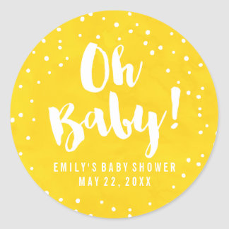 Oh Baby Yellow Watercolor Baby Shower Classic Round Sticker