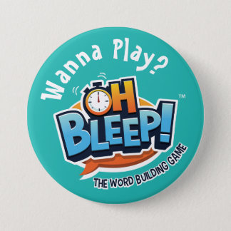 """Oh Bleep! Wanna Play Button 3"""" Turquoise"""