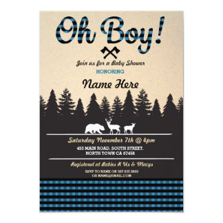 Oh Boy Baby Lumberjack Baby Shower Blue Invite