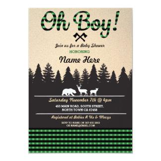 Oh Boy Baby Lumberjack Baby Shower Green Invite