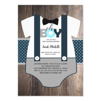OH boy baby shower invitation, bow tie baby shower Card