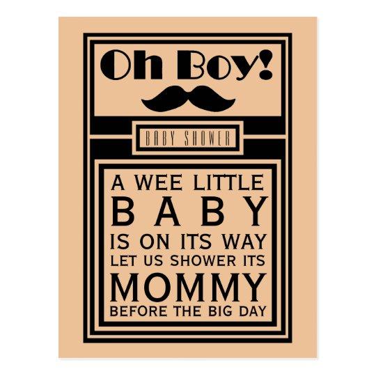Oh Boy Black Moustache Baby Shower Invitation Postcard