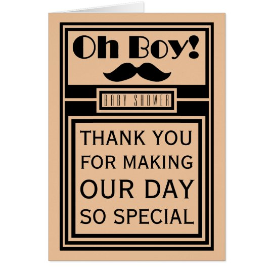 Oh Boy Black Moustache Baby Shower Thank You Card