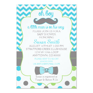 Oh boy Chevron Mustache baby shower invitation
