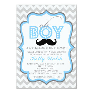 Oh boy baby shower invitations announcements zazzle oh boy chevron mustache baby shower invitation filmwisefo Choice Image