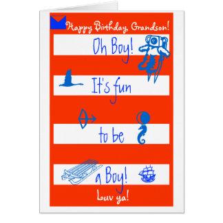 Oh Boy!  It's fun to be a boy!  Happy B-day Grands Greeting Card