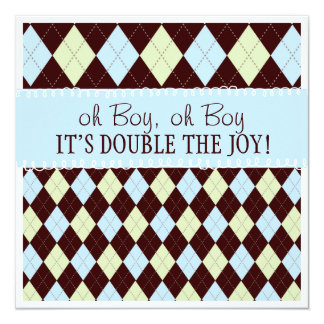 Oh Boy It's Twins Argyle Baby Boys Twin Shower Card