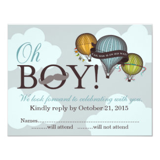 Oh Boy lil man hot air balloon RSVP card