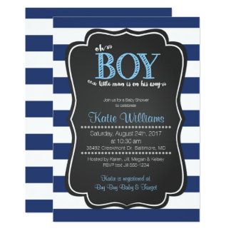 Oh Boy Little Man Baby Shower Invitation